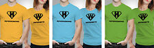 iberrys Couple Polyester Tshirts-superhusband wife- Yellow-Green-Blue Colour