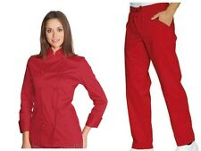 COMPLETO CUOCA DONNA ISACCO GIACCA RED LADY+PANTALONE A SCELTA CHEF WOMAN SET
