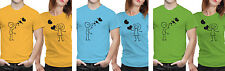 iberrys Couple Polyester Tshirts-  Love Bubble- Yellow-Green-Blue Colour