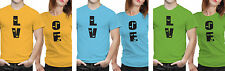 iberrys Couple Polyester Tshirts-  Love- Yellow-Green-Blue Colour