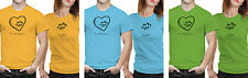 iberrys-Couple Polyester Tshirts-You are my heart-Green-Blue Colour
