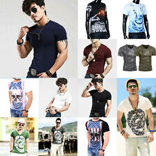 Moda Uomo Slim Fit Cotone T-shirt manica corta Sport Casual Top Maglietta LOTTO
