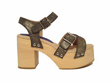Zoccolo Jeffrey Campbell Peasy Suede - Pewter/Gold