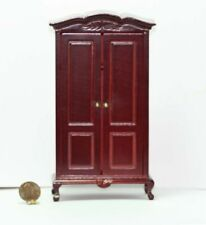 Dollhouse Miniature Hand Carved Armoire in Mahogany Stained Wood