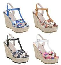 Damen Plateau Wedge Pumps Schuhe Plateausandalen High Heels 36 - 41