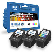 REMANUFACTURED CANON 2x PG-540XL & 1x CL-541XL 3 INK CARTRIDGE VALUE PACK
