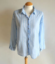 Ladies H&M Blue Striped 3/4 Sleeve Slouch Casual Shirt Blouse Summer Size 12 UK