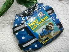 PAWS ABOARD LIFE JACKET Dog Safety Vest XXS blue dot new pet designer boat swim