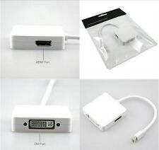 3 in one Mini Display Port/Thunderbolt to DVI HDMI DP Adaptor For Apple Mac PC