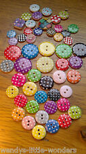 Wooden Or Resin Spotty Or Chequered Buttons 13mm 15mm 18mm 23mm