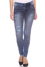 Fasnoya Women's Distressed & Patched Up Skinny Fit Jeans | j183