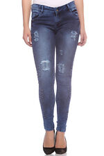 Fasnoya Women's Distressed & Patched Up Skinny Fit Jeans | j184