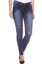 Fasnoya Women's Distressed & Patched Up Skinny Fit Jeans | j185