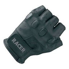 Racer Bubble Fingerless Motorcycle Motorbike Leather Gloves Knuckle Padding