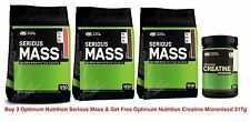 ON Optimum Nutrition Serious Mass 5.4kg Mass Gain x 3 + Free Creatine Micronised