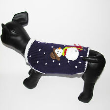 Christmas Dog Sweater Jumper winter Puppy pet clothes outfits Snowman X Small L