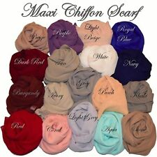 New Plain Chiffon Hijab Scarf Fashion Large Maxi Headscarf Womens ladies Scarves