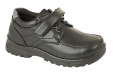 NEW BOYS INFANTS BACK TO SCHOOL STICKY STRAP LACED COMFY COOL BLACK SCHOOL SHOES