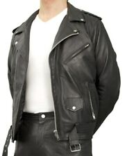 Mens Armoured Leather Brando Perfecto Classic Chopper Biker Motorcycle Jacket ££