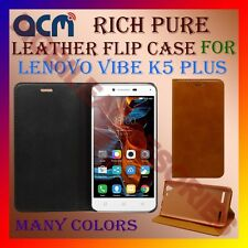 ACM-RICH PURE LEATHER FLIP CASE for LENOVO VIBE K5 PLUS MOBILE FRONT BACK COVER