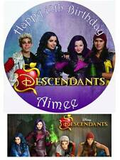Disney Descendants Personalized Edible Cake toppers Precut on Icing/Wafer Card