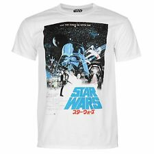 Star Wars Episode A New Hope Poster T-Shirt Mens White/Multi Top Tee T Shirt