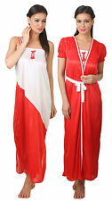 Fasense Exclusive Women Satin Nightwear Sleepwear 2 PCs Set Nighty Robe, FA050 A