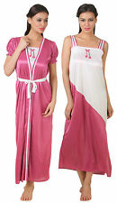 Fasense Exclusive Women Satin Nightwear Sleepwear 2 PCs Set Nighty Robe, FA050 E