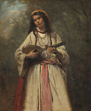 "Camille Corot : ""Gypsy Girl with Mandolin"" (c.1870) — Giclee Fine Art Print"