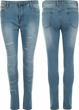 Donna Magro Gamba Tratto Stonewashed Hipster Strappato Donne Denim Jeans