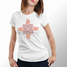 Tshirts Women Sports Wear Indian Ethnic Flowers White (by iberrys)