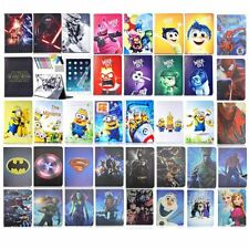 For iPad Leather Cover Case Stand spiderman superman Batman frozen elsa cartoon