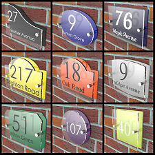 House Number Plaques Door Sign Vibrant Colour Back Acrylic Name Road Display