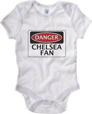 Body neonato WC0287 DANGER CHELSEA FAN, FOOTBALL FUNNY FAKE SAFETY SIGN