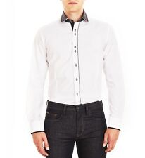 Guide London Long Sleeve Shirt LS.73917 White Black Double Polka Dot Collar Sale