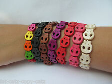 QUALITY UNISEX STONE SKULL FASHION ELASTICATED FRIENDSHIP BRACELET WRIST BAND UK