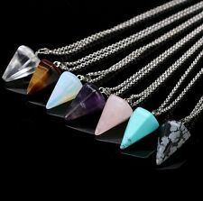 NEW GEMS QUARTZ CRYSTAL PENDULUM HEALING POINT REIKI CHAKRA PENDANT NECKLACE UK