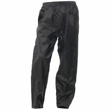 Tuzo Eco Waterproof Rain Storm Unlined Motorcycle Over Trousers Pants - Black