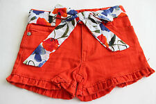 NWT Guess Jeans Belted Jean Shorts Girl's 6 Orange Adjust Waist FREE Ship