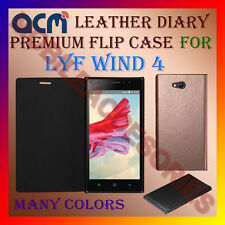 ACM-LEATHER PREMIUM FLIP FLAP CASE for LYF WIND 4 MOBILE FRONT/BACK FULL COVER