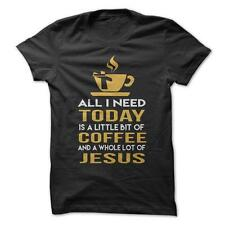 A Little Coffee A Lot Of Jesus - Funny T-Shirt Short Sleeve 100% Cotton Humor
