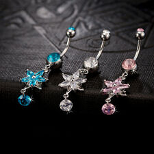 Beauty Crystal Flower Dangle Navel Belly Button Ring Bar Body Piercing Jewelry F