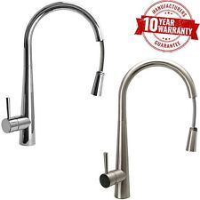 Chrome / Brushed Steel Monobloc Kitchen Mixer Sink Tap Pull Out Spray Hose *7