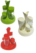 5 Piece Condiment Cruet Set Salt Pepper Oil Vinegar Dispenser Shaker Table Tidy