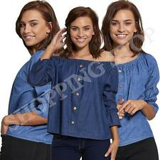Fashion WOMENS LADIES OFF THE SHOULDER BARDOT SEXY BUTTON DENIM TOP DRESS SHIRT