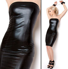 SeXy Bandeau Stretch Wetlook Minikleid Schwarz Lack Leder Optik S M L 36 38 40