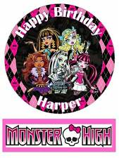 Monster High Personalized Edible Cake toppers 7 Inch/ cupcakes  Precut