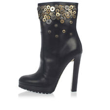 DSQUARED2 D2 New women Studded Leather Ankle Boots with Wood Heel Italy Made