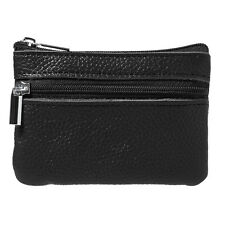Men Women Small Soft Genuine Leather Coin Bag Pouch Purse Zip Around Handbags