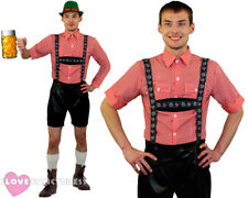 DELUXE BAVARIAN MAN COSTUME OKTOBERFEST FANCY DRESS FAUX LEATHER LEDERHOSEN